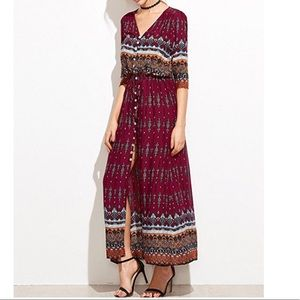 Dresses & Skirts - Tribal Button Up Floral Maxi Dress